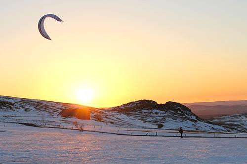 cours de kite surf, sur le domaine des estables