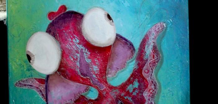 """Peinture """"poissonesque"""" par Valérie Vallat"""